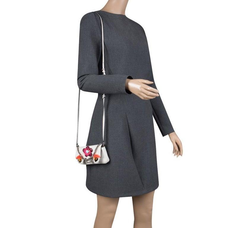 Gray Fendi White Leather Micro Monster Baguette Bag