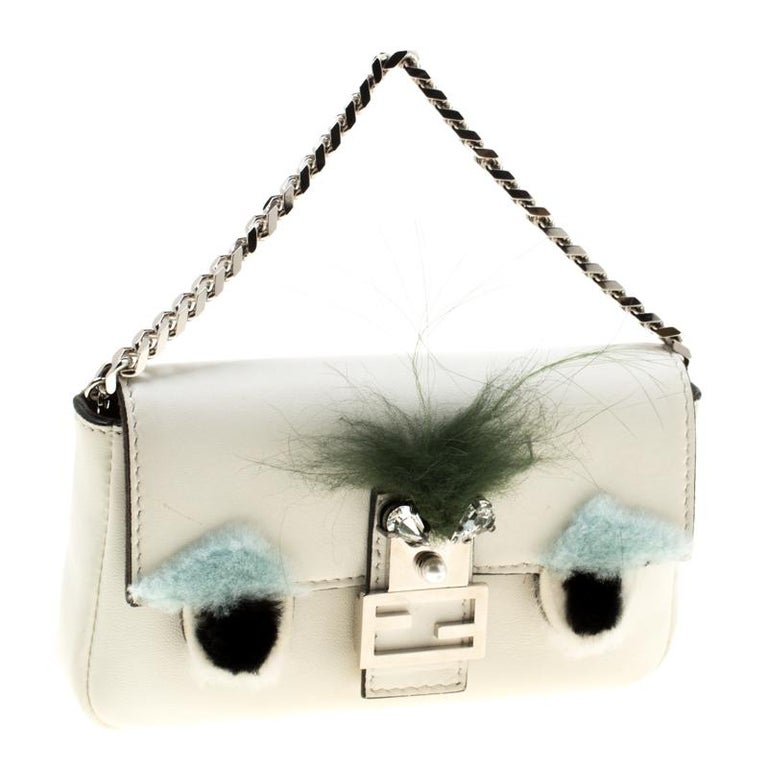 Women's Fendi White Leather Micro Monster Baguette Bag