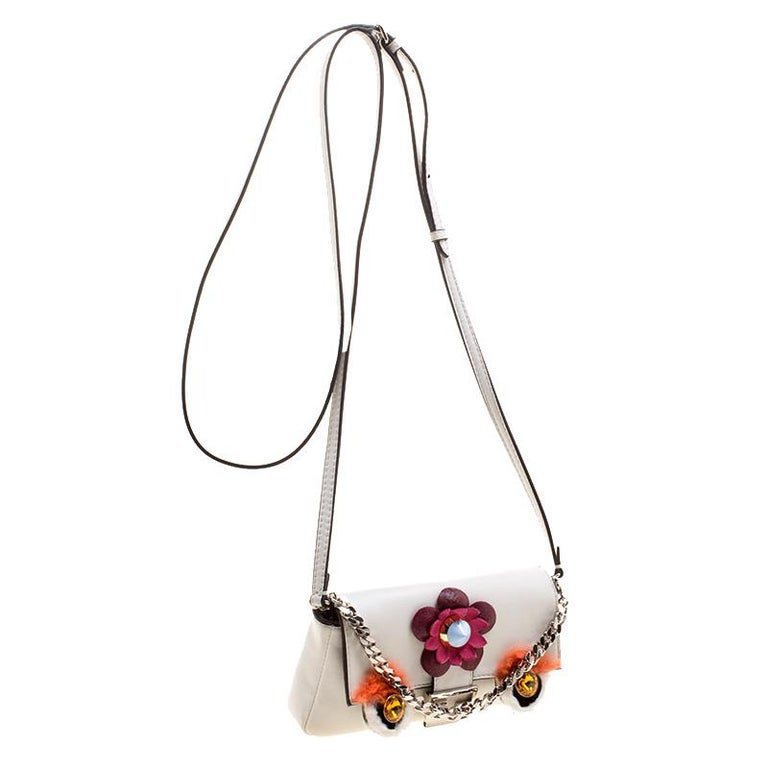 Fendi White Leather Micro Monster Baguette Bag In Good Condition In Dubai, Al Qouz 2