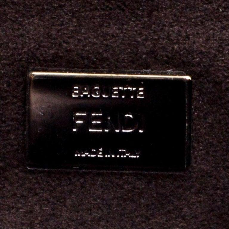 Fendi White Leather Micro Monster Baguette Bag 4
