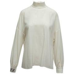 Fendi White Long Sleeve Mock Neck Top