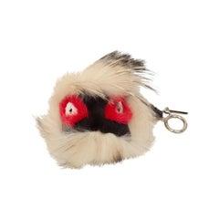 Fendi White & Multicolor Fox Fur Monster Bag Bug Charm