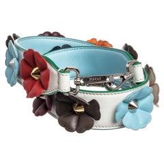 Fendi White Multicolor Leather Flowerland Strap You Interchangeable Shoulder Str