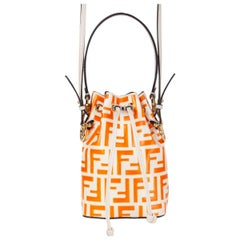 FENDI white & orange leather Monogram ZUCCA MON TRESOR MINI Bucket Shoulder Bag