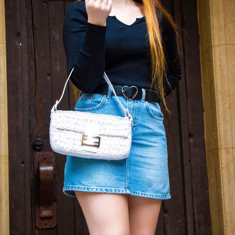 Fendi White Python Baguette Handbag For Sale 5