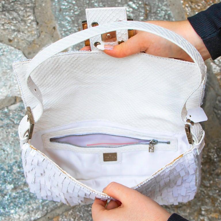Gray Fendi White Python Baguette Handbag For Sale