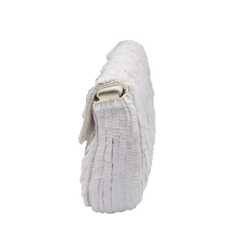 Fendi White Python Baguette Handbag In Good Condition For Sale In Rancho Santa Fe, CA