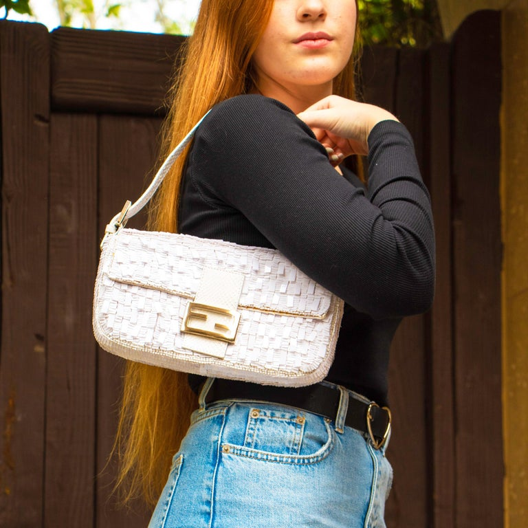 Women's Fendi White Python Baguette Handbag For Sale