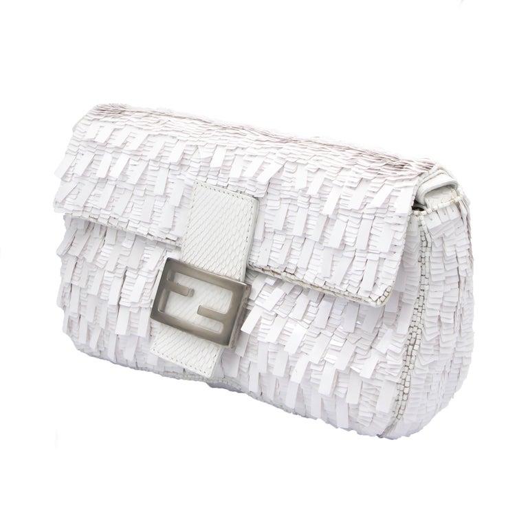 Fendi White Python Baguette Handbag For Sale 1
