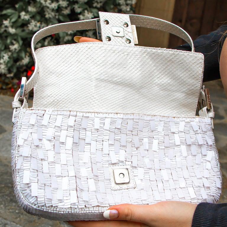 Fendi White Python Baguette Handbag For Sale 2
