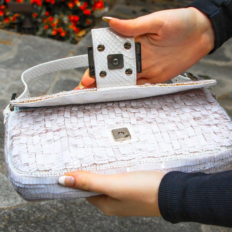 Fendi White Python Baguette Handbag For Sale 3