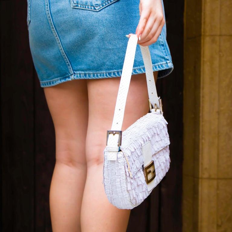 Fendi White Python Baguette Handbag For Sale 4