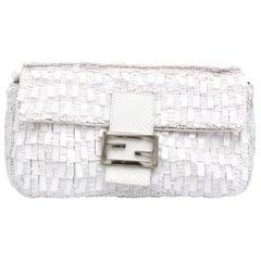 Fendi White Python Baguette Handbag