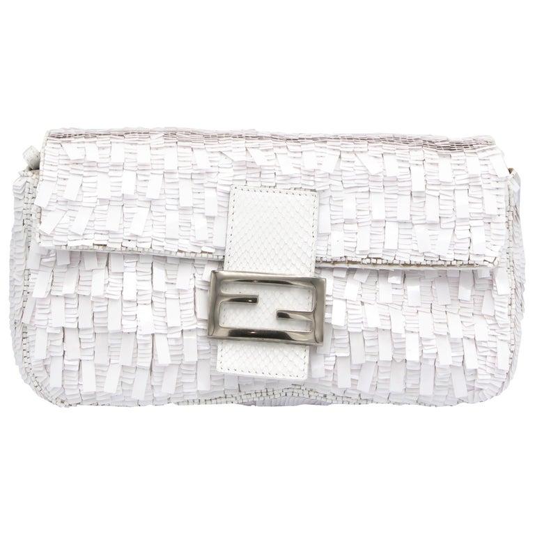 Fendi White Python Baguette Handbag For Sale