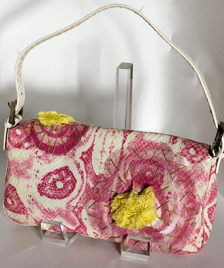 Fendi White Snake Skin w/ Pink & Yellow Accents Baguette Handbag  For Sale 5