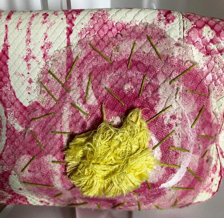 Fendi White Snake Skin w/ Pink & Yellow Accents Baguette Handbag  For Sale 6