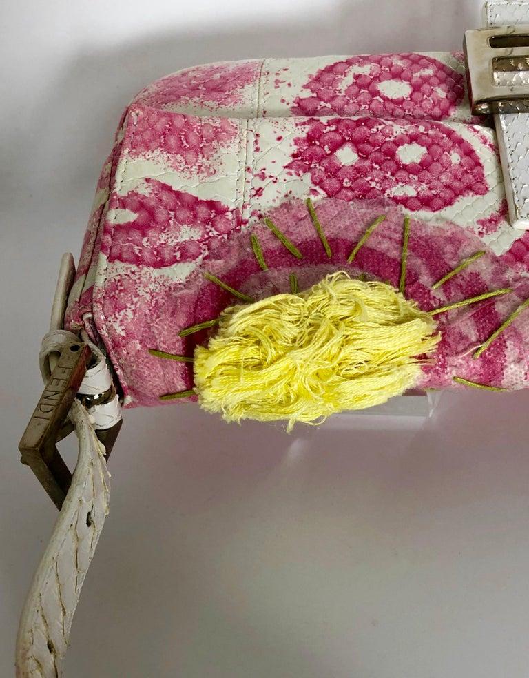 Fendi White Snake Skin w/ Pink & Yellow Accents Baguette Handbag  For Sale 7