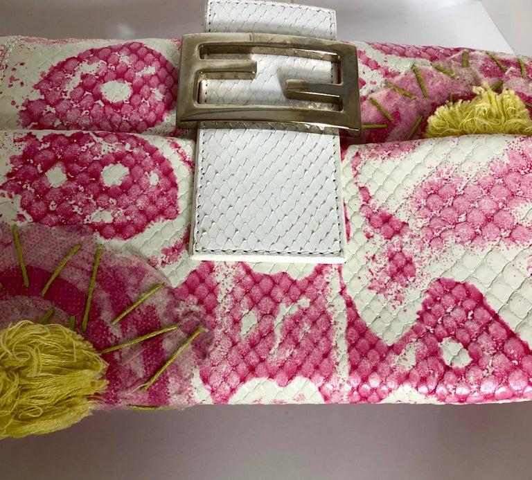 Fendi White Snake Skin w/ Pink & Yellow Accents Baguette Handbag  For Sale 10