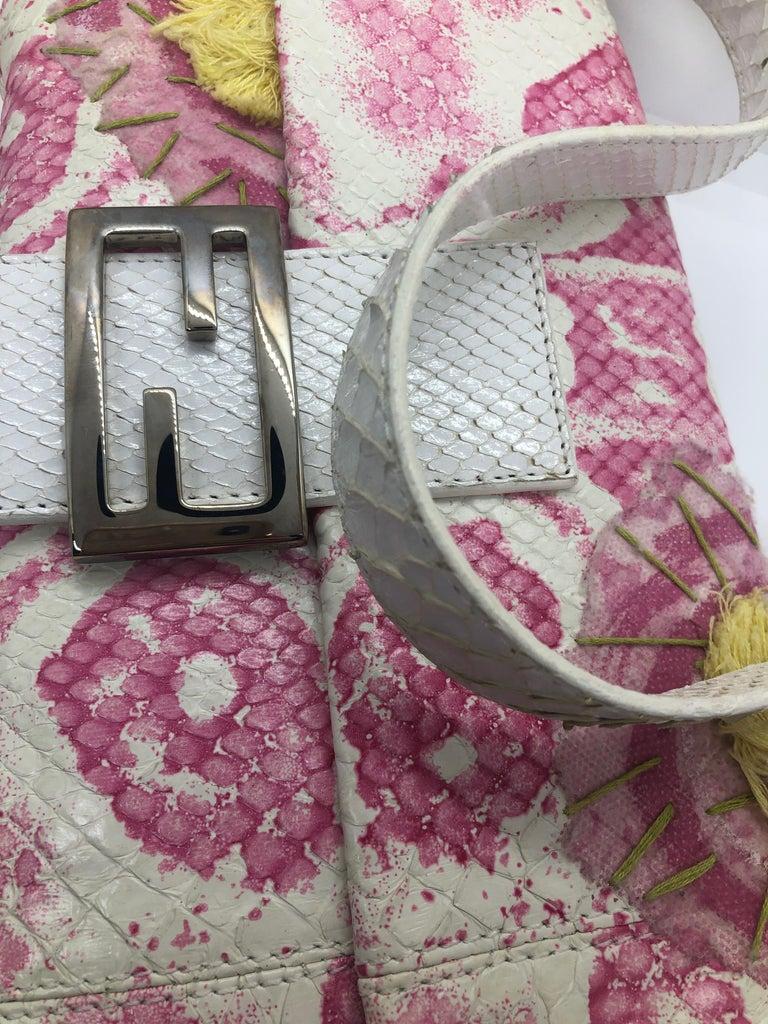Fendi White Snake Skin w/ Pink & Yellow Accents Baguette Handbag  For Sale 11