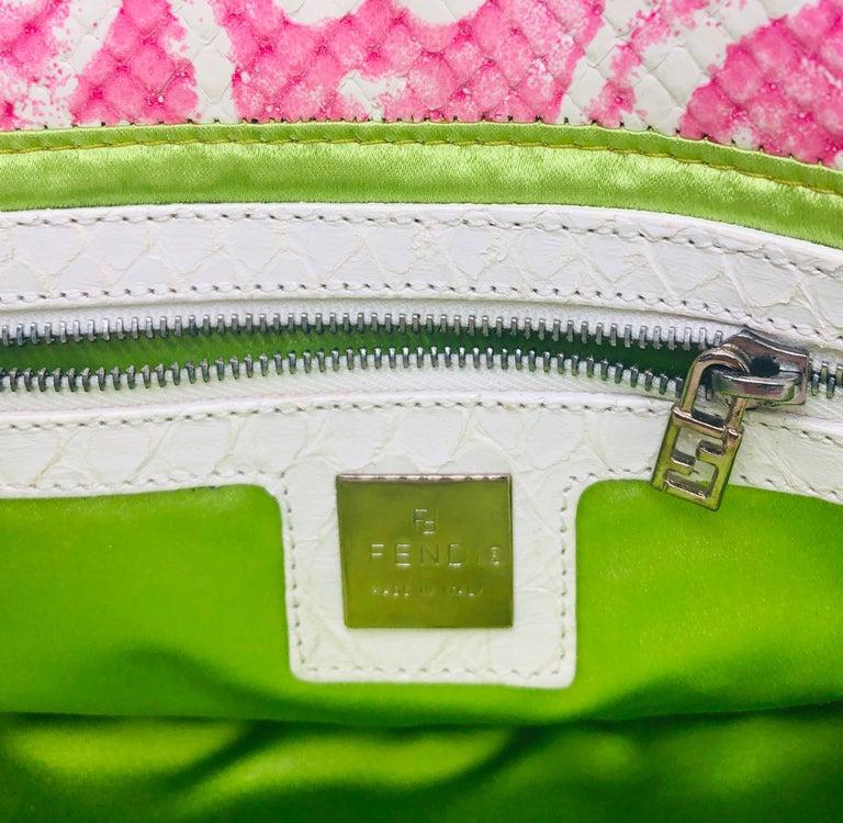 Fendi White Snake Skin w/ Pink & Yellow Accents Baguette Handbag  For Sale 12