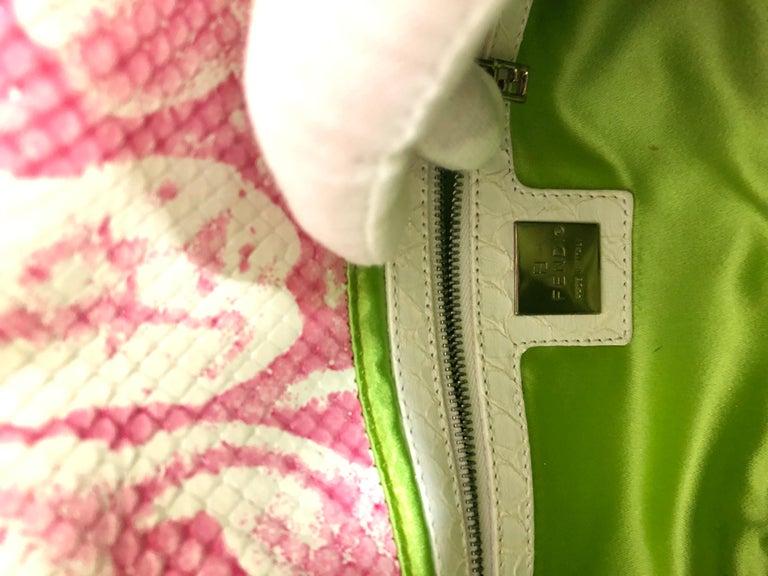 Fendi White Snake Skin w/ Pink & Yellow Accents Baguette Handbag  For Sale 14
