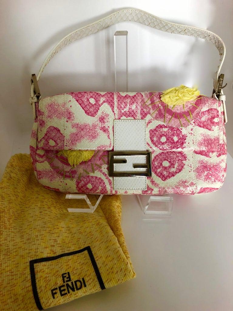 Fendi White Snake Skin w/ Pink & Yellow Accents Baguette Handbag  For Sale 15