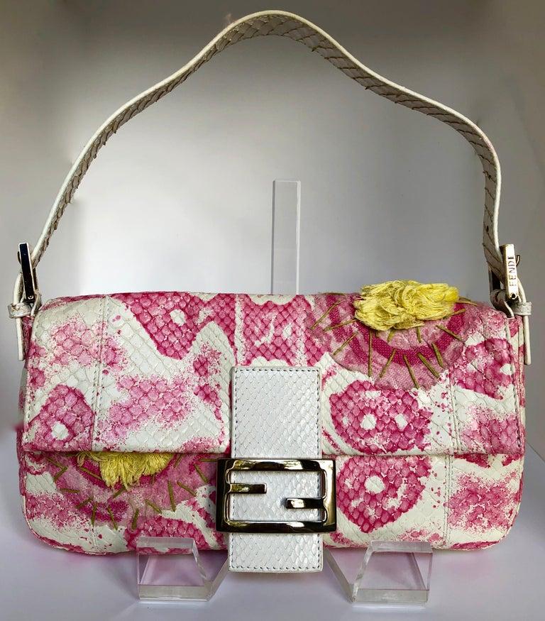 Beige Fendi White Snake Skin w/ Pink & Yellow Accents Baguette Handbag  For Sale