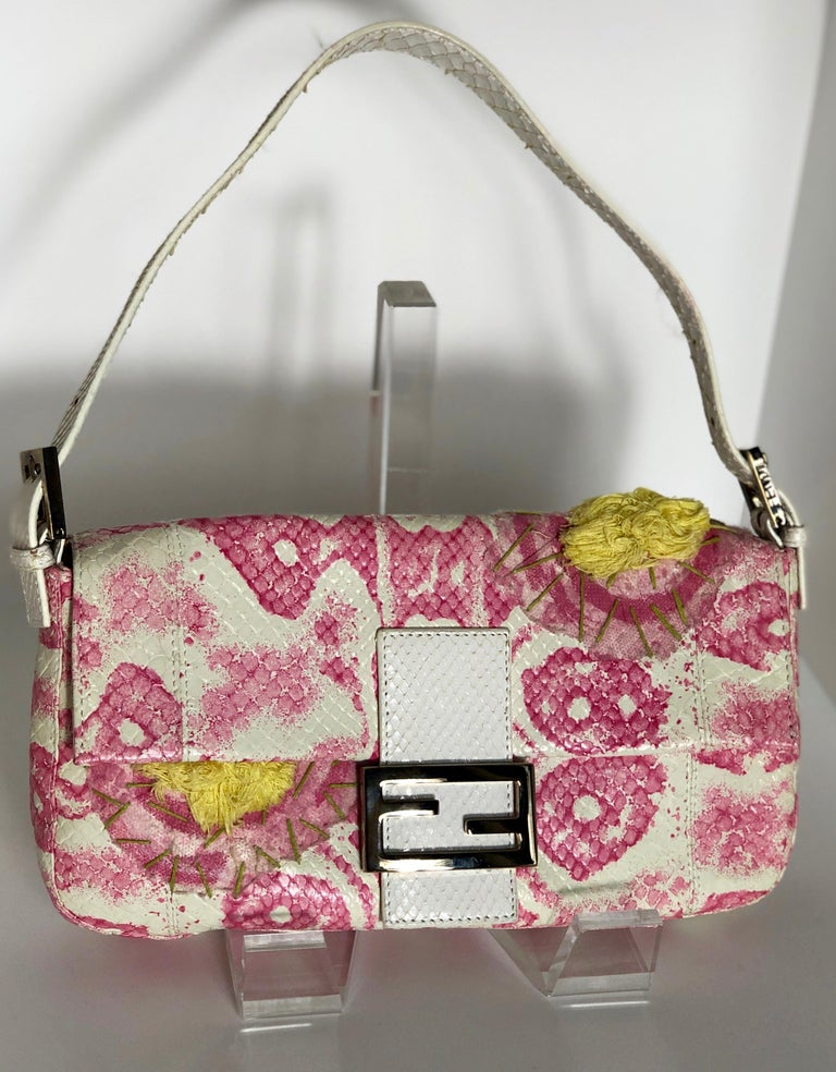 Fendi White Snake Skin w/ Pink & Yellow Accents Baguette Handbag  In Good Condition For Sale In Houston, TX