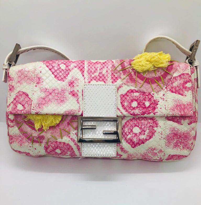 Women's Fendi White Snake Skin w/ Pink & Yellow Accents Baguette Handbag  For Sale