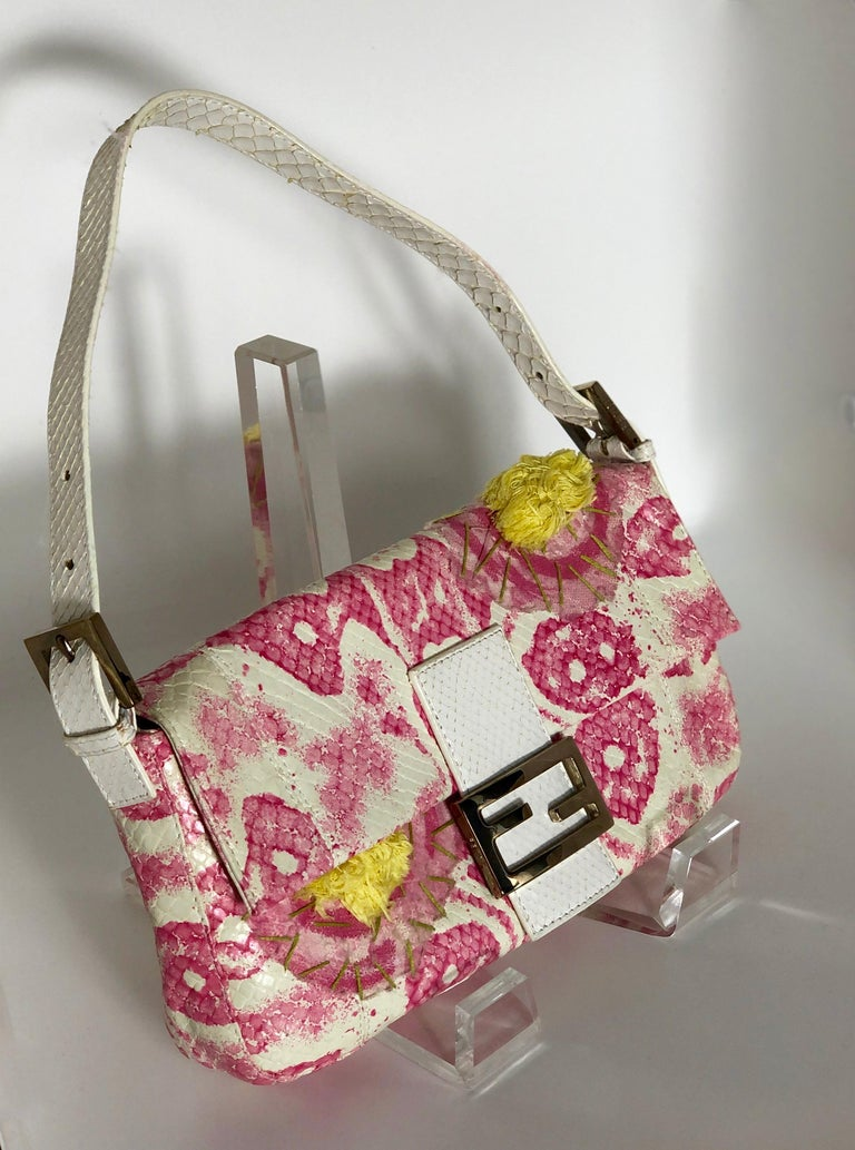 Fendi White Snake Skin w/ Pink & Yellow Accents Baguette Handbag  For Sale 1