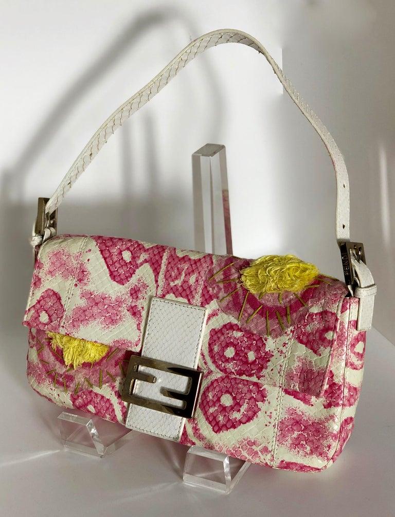 Fendi White Snake Skin w/ Pink & Yellow Accents Baguette Handbag  For Sale 2