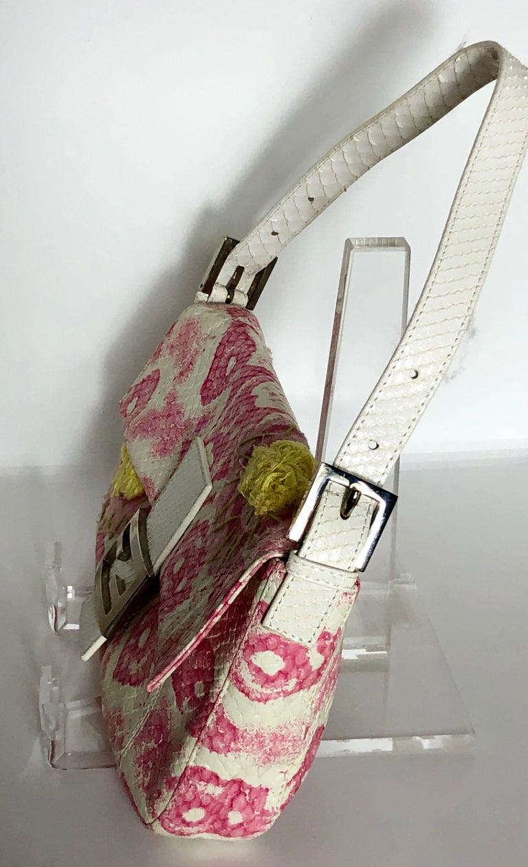 Fendi White Snake Skin w/ Pink & Yellow Accents Baguette Handbag  For Sale 3