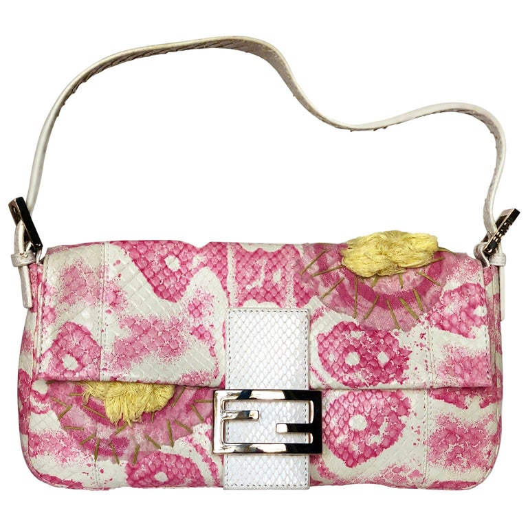 Fendi White Snake Skin w/ Pink & Yellow Accents Baguette Handbag  For Sale
