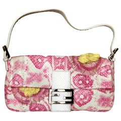 Fendi White Snake Skin w/ Pink & Yellow Accents Baguette Handbag