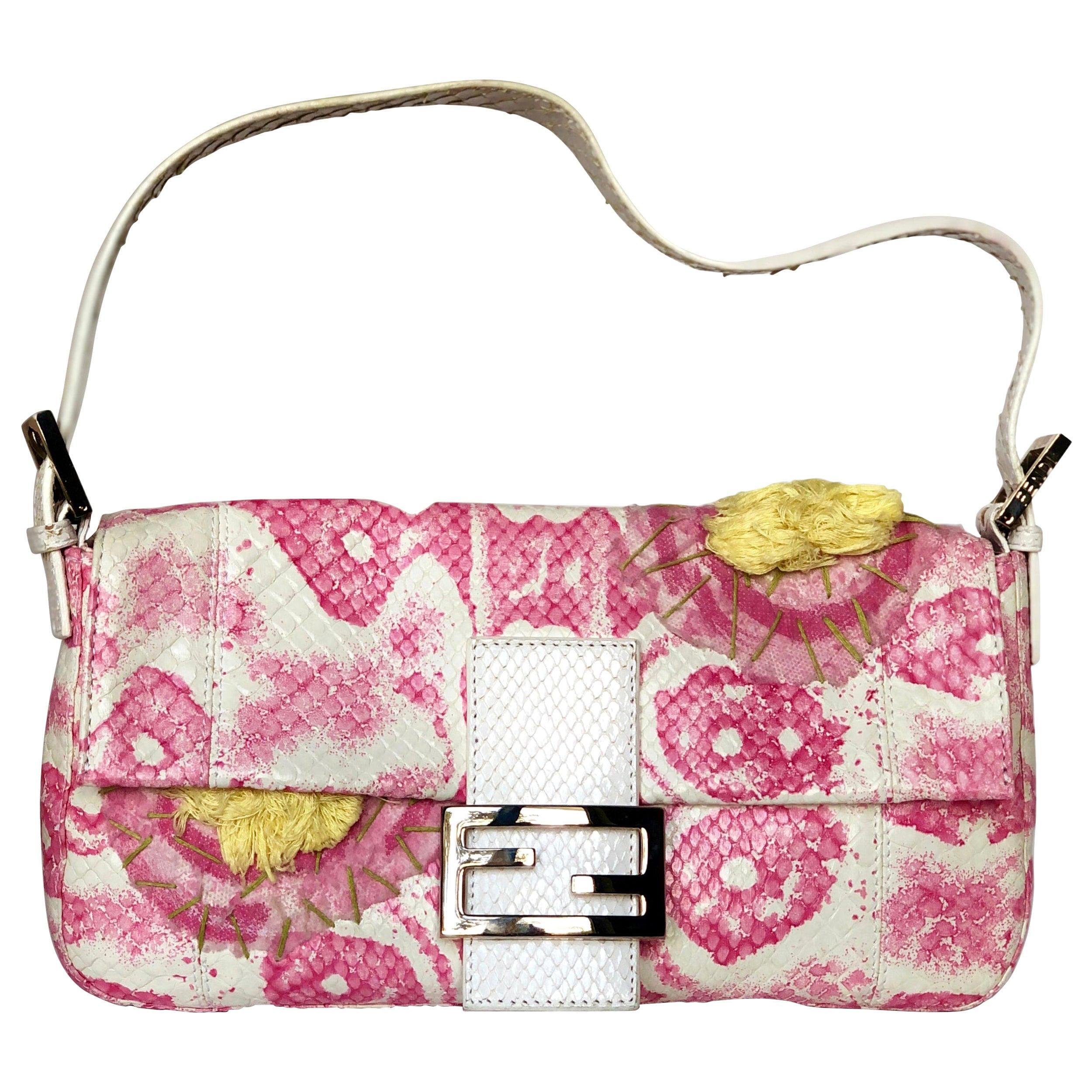 Fendi White Snake Skin w/ Pink & Yellow Accents Baguette Handbag