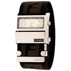 Fendi White Stainless Steel Diamond Zip Code 1120L Women's Wristwatch 38 mm