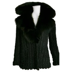 FENDI wild Russian karakul with fox collar black fur jacket - Unworn, new