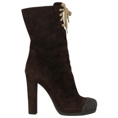 Fendi Woman Ankle boots Brown Leather IT 38