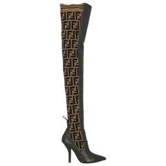 Fendi Woman Boots Black Leather, Synthetic Fibers IT 35
