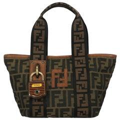 Fendi Woman Handbag Padlock Black Fabric