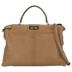 Fendi Woman Handbag Peekaboo Camel Color Leather