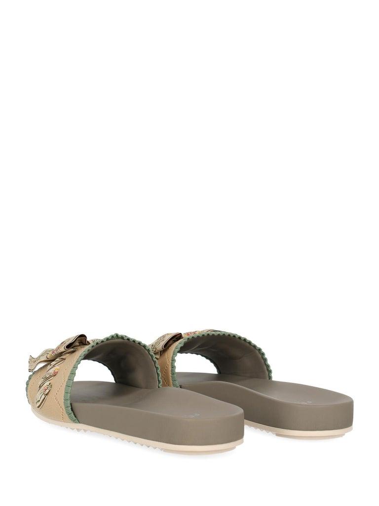 Brown Fendi Woman Slippers Beige, Green IT 39 For Sale