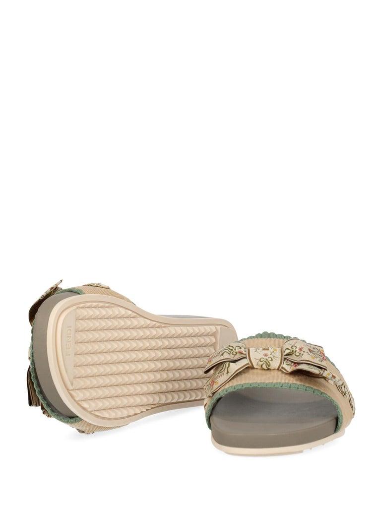 Women's Fendi Woman Slippers Beige, Green IT 39 For Sale