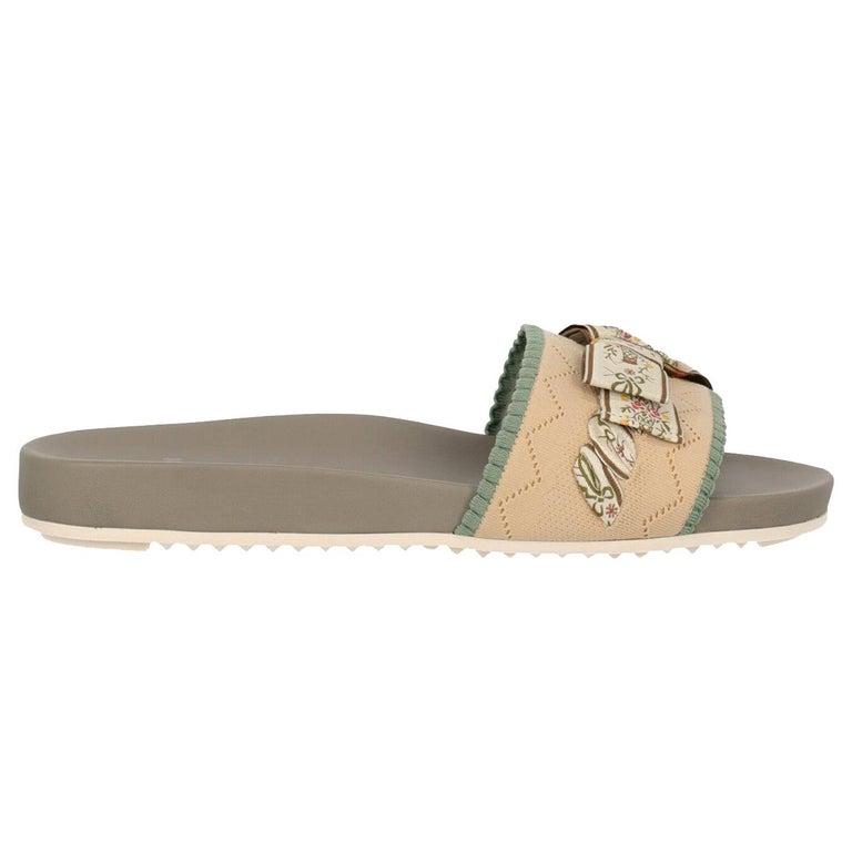 Fendi Woman Slippers Beige, Green IT 39 For Sale
