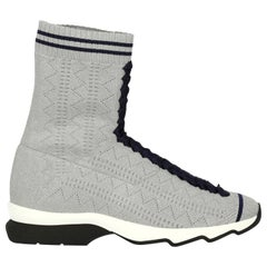 Fendi Woman Sneakers Silver Fabric IT 38