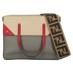 Fendi Woman Tote bag Beige, Grey, Red