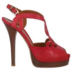 Fendi Women  Pumps Red Leather IT 40