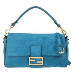 Fendi Women's Crossbody Bag Baguette Blue Leather