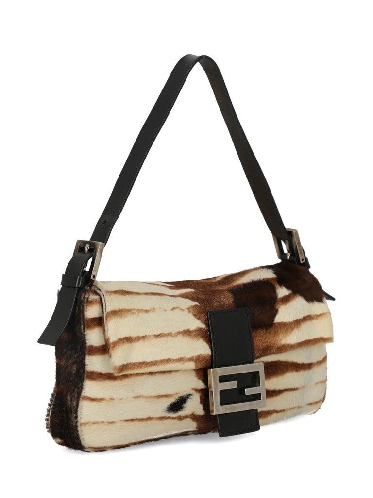 Beige Fendi Women's Handbag Baguette Brown/Ecru Leather