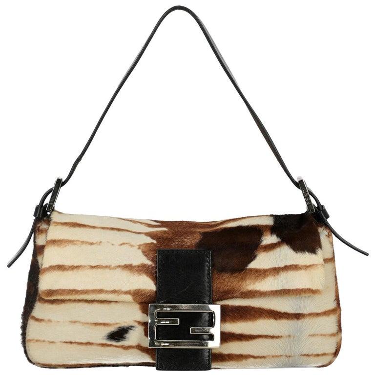 Fendi Women's Handbag Baguette Brown/Ecru Leather